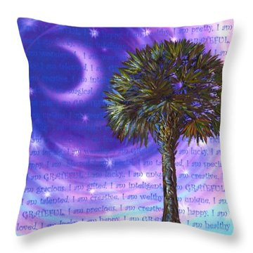 Throw Pillow featuring the painting Palmetto Gratitude by Agata Lindquist