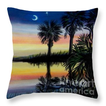 Palmetto Tree And Moon Low Country Sunset Throw Pillow