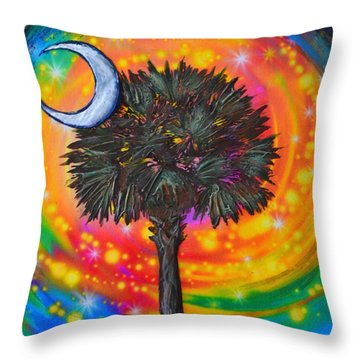 Throw Pillow featuring the painting Palmetto Tree Of Life by Agata Lindquist