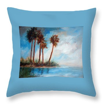 Palmettos On A Beach Throw Pillow