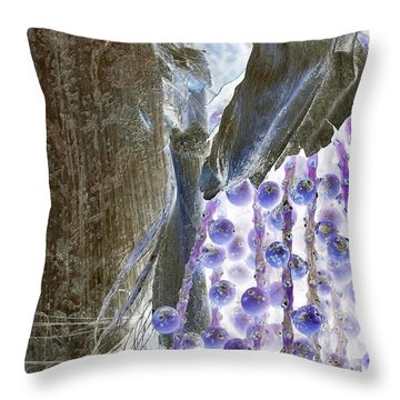 Backlit Blueberries Throw Pillow