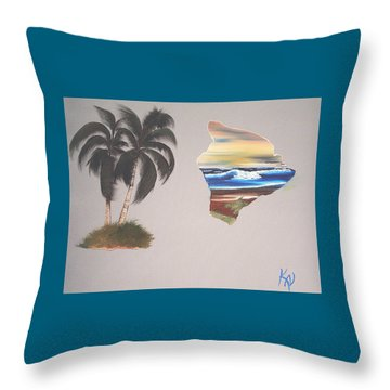 Throw Pillow featuring the painting Palms And Big Island by Karen Nicholson