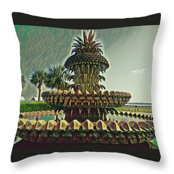 Palms And Pineapples Throw Pillow