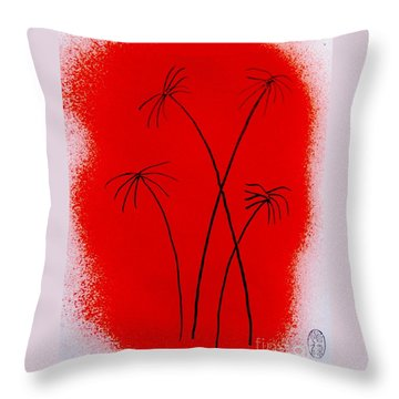 Palms And Sunset Throw Pillow by Roberto Prusso