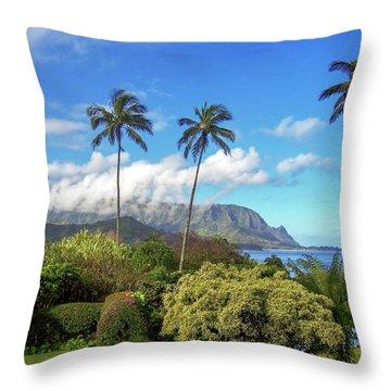 Palms At Hanalei Throw Pillow