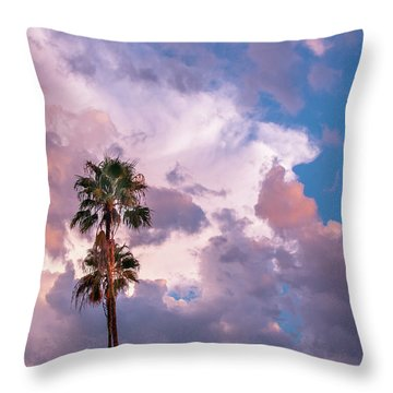 Palms At Sunset Throw Pillow by Carolyn Dalessandro
