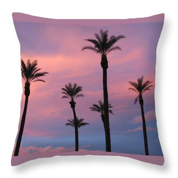 Throw Pillow featuring the photograph Palms At Sunset by Phyllis Kaltenbach