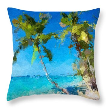 Palms Beach Abstract  Throw Pillow