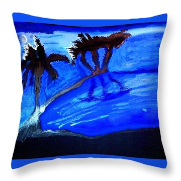 Palms Beneath A Silvery Moon Throw Pillow