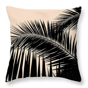 Palms On Pale Pink Throw Pillow