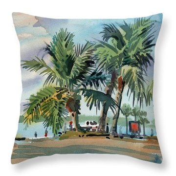 Palms On Sanibel Throw Pillow by Donald Maier