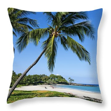 Palms Over Beach II Throw Pillow by Ron Dahlquist - Printscapes