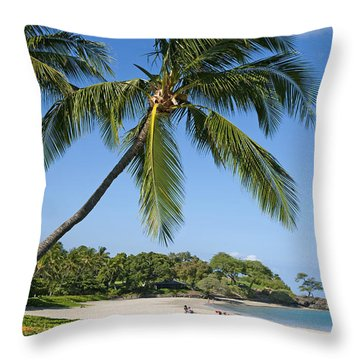 Palms Over Beach Throw Pillow by Ron Dahlquist - Printscapes