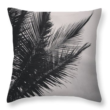 Palm Trees  Against A Stormy Sky Throw Pillow by Colleen Kammerer