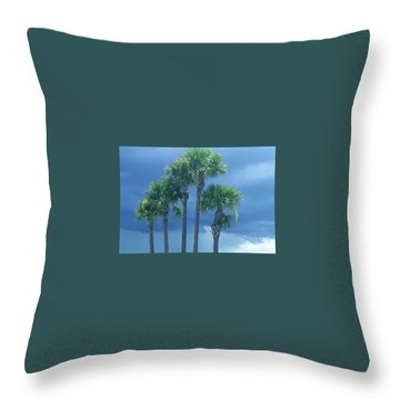 Palmy Skies Throw Pillow by Rachel Hannah