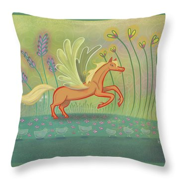 Throw Pillow featuring the digital art Palomino Pegasus by Marti McGinnis