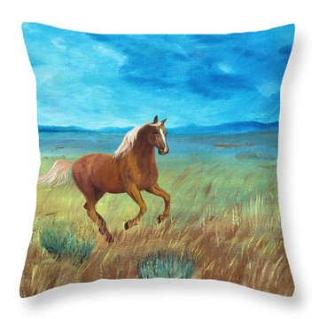 Palomino Storm Throw Pillow by Jan Amiss