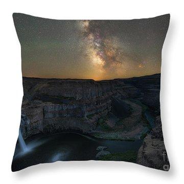 Palouse Falls Milky Way Galaxy  Throw Pillow