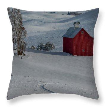 Palouse Saltbox Barn Winter Throw Pillow