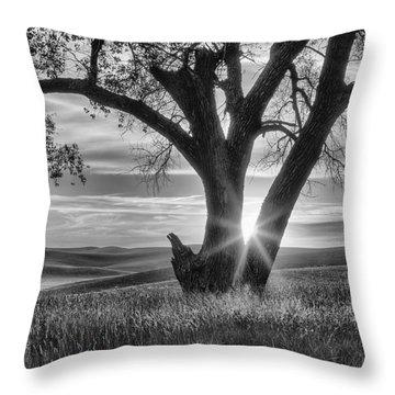 Palouse Sentinel - Black And White Throw Pillow