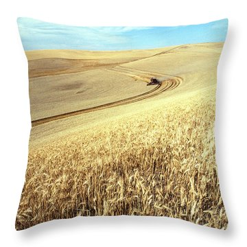 Palouse Wheat Throw Pillow by USDA and Photo Researchers