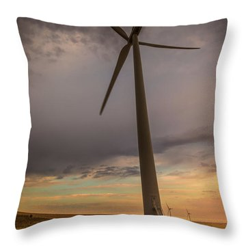 Palouse Windmill At Sunrise Throw Pillow by Chris McKenna