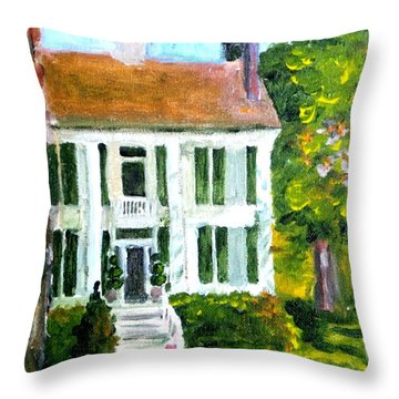 Throw Pillow featuring the painting Palto Alto Plantation Up Close by Jim Phillips