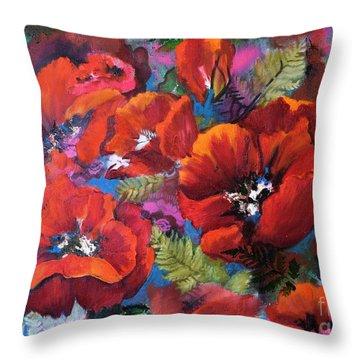 Pamela's Poppies Throw Pillow