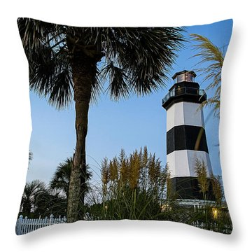 Pampas Grass, Palms And Lighthouse Throw Pillow