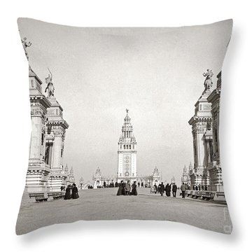 Throw Pillow featuring the photograph Pan Am Tower Approach 1901 by Martin Konopacki Restoration