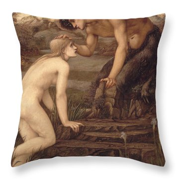 Pan And Psyche Throw Pillow by Sir Edward Burne-Jones
