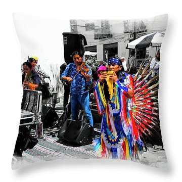 Pan Flutes In Cuenca Throw Pillow by Al Bourassa