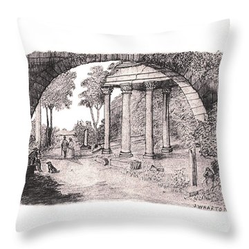 Pan Watching Ruins Of The Past Throw Pillow