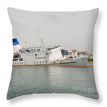 Panagia Tinou Ferry Sinking In Athens Throw Pillow