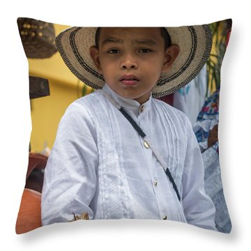 Panamanian Boy On Float In Parade Throw Pillow