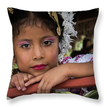 Panamanian Girl On Float In Parade Throw Pillow