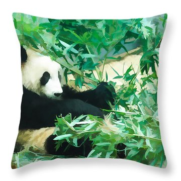 Throw Pillow featuring the painting Panda 1 by Lanjee Chee