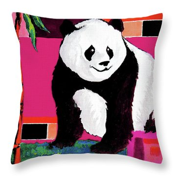 Panda Abstrack Color Vision  Throw Pillow