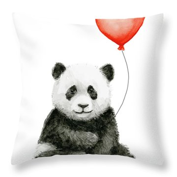 Panda Baby And Red Balloon Nursery Animals Decor Throw Pillow