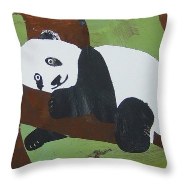 Throw Pillow featuring the painting Panda Baby by Candace Shrope