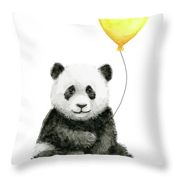 Panda Baby With Yellow Balloon Throw Pillow