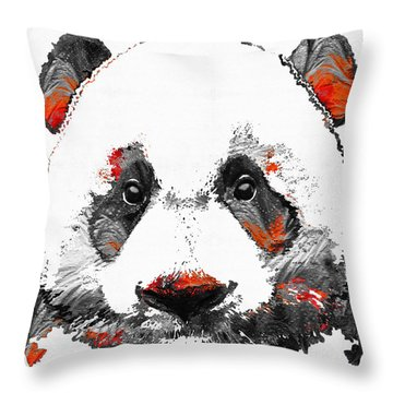 Panda Bear Art - Black White Red - By Sharon Cummings Throw Pillow