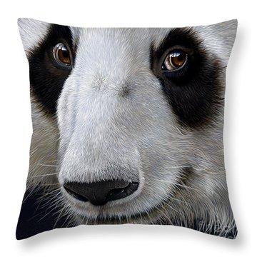 Panda Bear Throw Pillow by Jurek Zamoyski