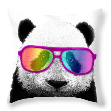 Panda Bear With Rainbow Glasses Throw Pillow