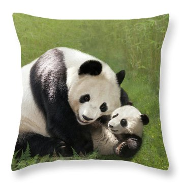Panda Bears Throw Pillow