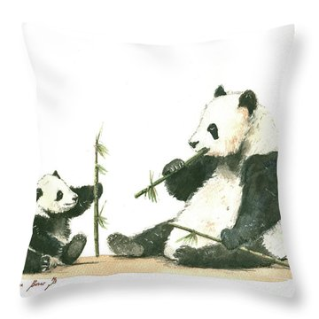 Panda Family Eating Bamboo Throw Pillow