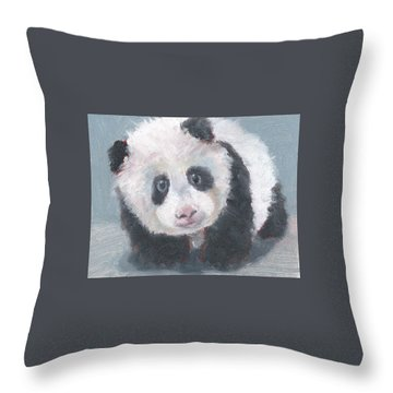 Throw Pillow featuring the painting Panda For Panda by Jessmyne Stephenson