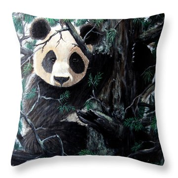 Panda In Tree Throw Pillow by Nick Gustafson