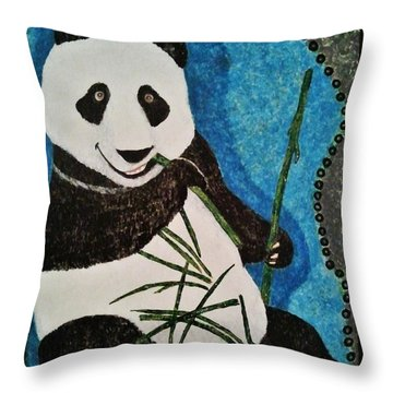 Throw Pillow featuring the painting Panda by Jasna Gopic