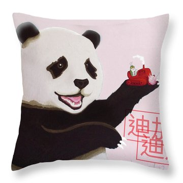 Panda Joy Pink Throw Pillow